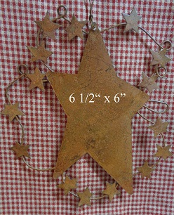 B10429 Rusty Tin Star Ornament