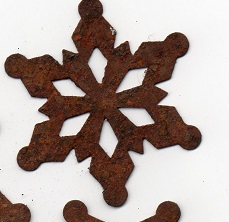 "2"" rusty tin snowflake"