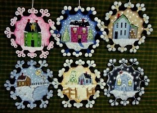 #6087 Six Snow Town Ornaments