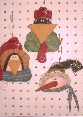 #ep0093 Snowman, Chicken, Penguin Ornaments